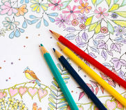 Colorer book - antistress. With colored pencils Royalty Free Stock Images