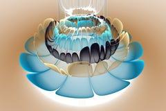Colores azules, blancos y anaranjados de la flor abstracta 3d en fondo marrón claro Foto de archivo