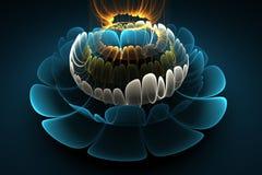 Colores azules, blancos y anaranjados de la flor abstracta 3d en fondo negro Imagen de archivo libre de regalías