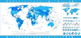 Colores azules del mapa del mundo y elementos infographic Imagen de archivo libre de regalías