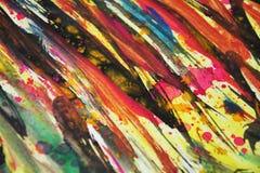 Colores borrosos azul marino amarillos verdes anaranjados, contrastes, fondo creativo de la pintura cerosa Fotografía de archivo