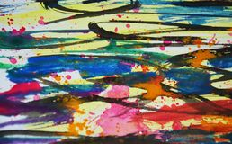 Colores borrosos azul negro amarillo verde anaranjado, contrastes, fondo creativo de la pintura cerosa Fotografía de archivo