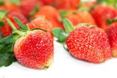 Colores brillantes de la fresa encima en el fondo blanco Imagen de archivo