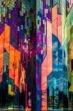 Colores brillantes del arte abstracto en las ventanas de cristal en el abeto de la pradera fotografía de archivo libre de regalías