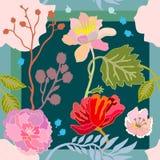 Colores brillantes del verano Bufanda de seda con las flores florecientes ilustración del vector