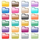Colores clasificados iconos de la carpeta del Web Foto de archivo