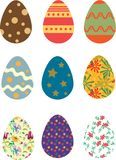 Colores coloridos del vintage de los huevos de Pascua fotos de archivo libres de regalías