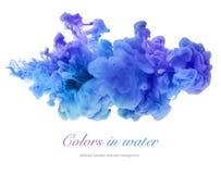 Colores de acrílico en agua abstraiga el fondo Fotografía de archivo libre de regalías