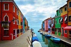 Colores de Burano, Venecia Foto de archivo libre de regalías