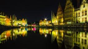Colores de Gante - noche Foto de archivo
