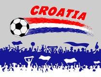 Colores de la bandera de Croacia con el sil del balón de fútbol y de los partidarios del croata Fotografía de archivo libre de regalías