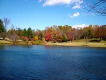 Colores de la caída en el lago imagenes de archivo