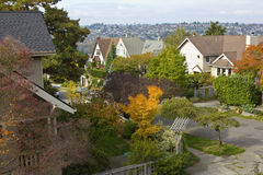 Colores de la caída en un área residencial Seattle WA. Imagen de archivo