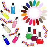 Colores de la paleta del esmalte de uñas diversos Imagen de archivo libre de regalías