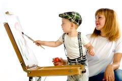 Colores de la pintura de la mamá y del hijo Fotografía de archivo