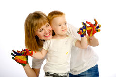Colores de la pintura de la mamá y del hijo Fotos de archivo libres de regalías