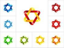 colores de la plantilla del diseño del logotipo de la estrella del Seis-punto diversos Foto de archivo libre de regalías