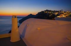 Colores de la puesta del sol de Santorini Fotografía de archivo libre de regalías