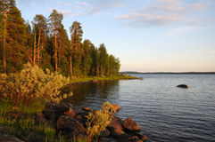 Colores de la puesta del sol del bosque y del lago carelios Fotografía de archivo libre de regalías