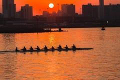 Colores de la salida del sol del rowing de la regata Foto de archivo