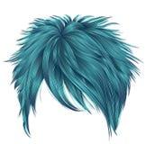 Colores de moda del azul de los pelos cortos de la mujer franja Belleza de la manera ilustración del vector