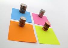 Colores de monedas y del billete de los E.E.U.U. Foto de archivo