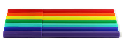 Colores del arco iris de las etiquetas de plástico Fotos de archivo