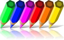 Colores del lápiz seises Foto de archivo