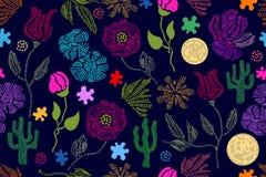 Colores del verano Modelo inconsútil floral del vector con los wildflowers del bordado y su ilustración del vector