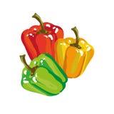 Colores dulces de Paprika Bell Pepper In Three Imágenes de archivo libres de regalías