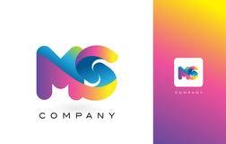Colores hermosos del ms Logo Letter With Rainbow Vibrant T colorido Fotos de archivo