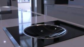 Colores negros interiores del blanco gris de la cocina moderna almacen de metraje de vídeo