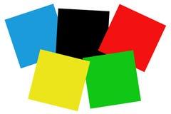 Colores olímpicos en cuadrados. Imagenes de archivo