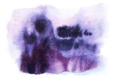 Colores púrpuras azules dibujados mano abstracta del rosa de la mancha de la salpicadura de la pintura del arte de la acuarela de ilustración del vector