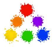 Colores primarios y secundarios en salpicaduras de la pintura Foto de archivo libre de regalías