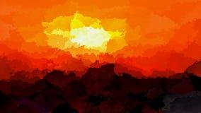colores rojos del fondo, anaranjados y amarillos video manchados animados abstractos - ocaso de la puesta del sol