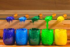 colores verdes claros y amarillos verde oscuro azules claros azul marino de la tinta del plastisol Fotografía de archivo libre de regalías