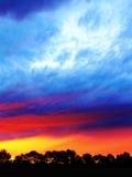 Colores vivos de la puesta del sol sobre árboles Imagen de archivo