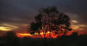 Colores vivos de las puestas del sol Himalayan la India imagen de archivo