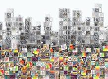 Colores y fondo de la ciudad hecho con los pequeños ejemplos stock de ilustración
