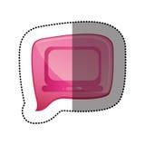 colorez l'autocollant avec l'icône d'ordinateur portable dans le discours carré Photographie stock