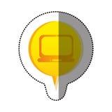 colorez l'autocollant avec l'icône d'ordinateur portable dans le discours circulaire Photos libres de droits