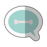 Colorez l'autocollant moyen d'ombre et dialoguez la sphère avec l'os d'animal familier Image stock