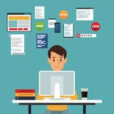 Colorez l'homme de développeur web de vue de face de fond de scène dans le langage de programmation de bureau illustration de vecteur