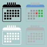 Colorez l'icône noire grise blanche de calendrier Photographie stock libre de droits