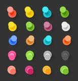 Colorez la collection plate de conception de goupilles Image libre de droits