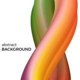 Colorez la composition abstraite des vagues oranges et vertes d'aquarelle Photographie stock libre de droits