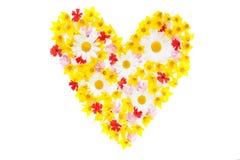Colorez la configuration d'appartement de coeur de fleurs de jardin Image stock