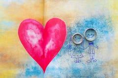 Colorez la note de post-it avec les anneaux et le coeur de mariage Image libre de droits
