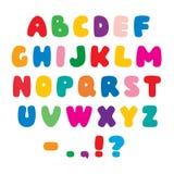 Colorez la police artistique plate d'alphabet Photographie stock